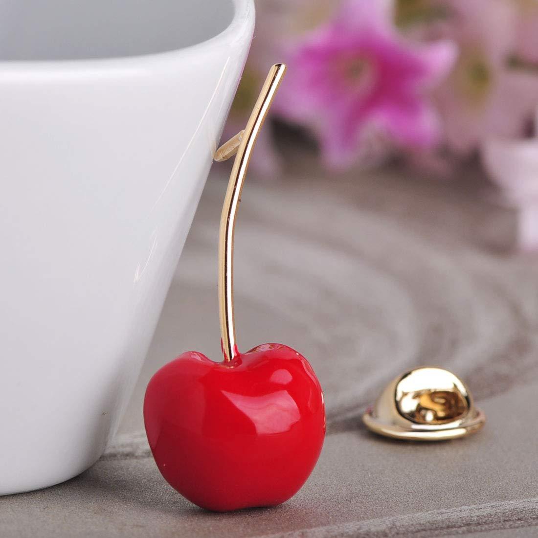 MECHOSE Lovely Red Cherry Shape Brooch Pins for Women Kid Cute Small Enamel Fruit Sweater Shirt Bag by MECHOSEN (Image #4)