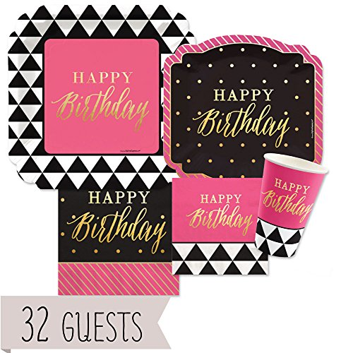Big Dot of Happiness Chic Happy Birthday - Pink, Black with Gold Foil - Party Tableware Plates, Cups, Napkins - Bundle for 32 (Foil Dots)