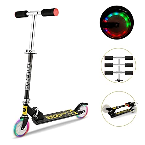 Mini Kick Scooter Aluminum Folding Scooters Adjustable Height with Light Up Wheels for Kids Girls Boys Toddler, Ages 2-8 Years
