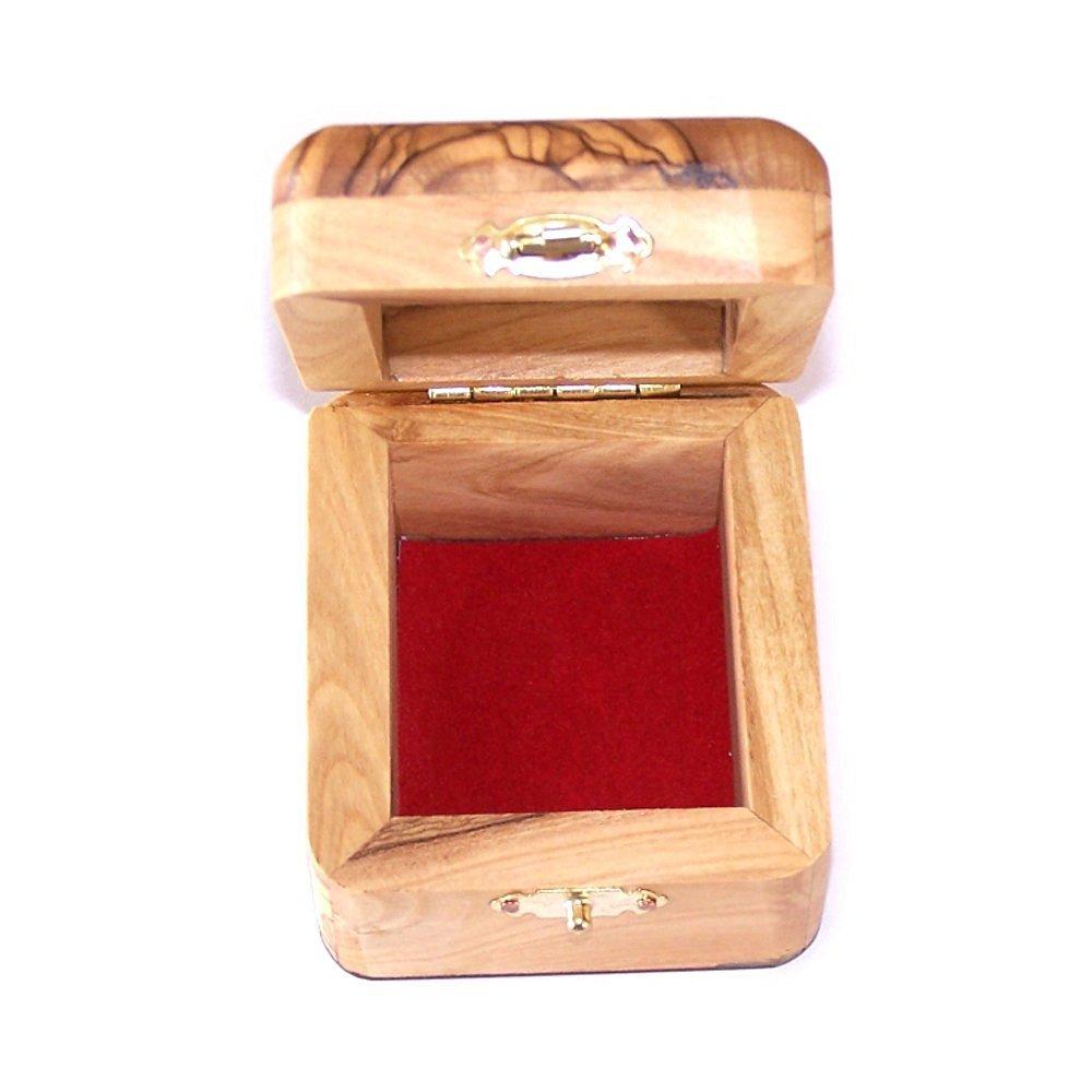 Olive Wood Catholic First Communion Rosary Box by Bethlehem Gifts TM