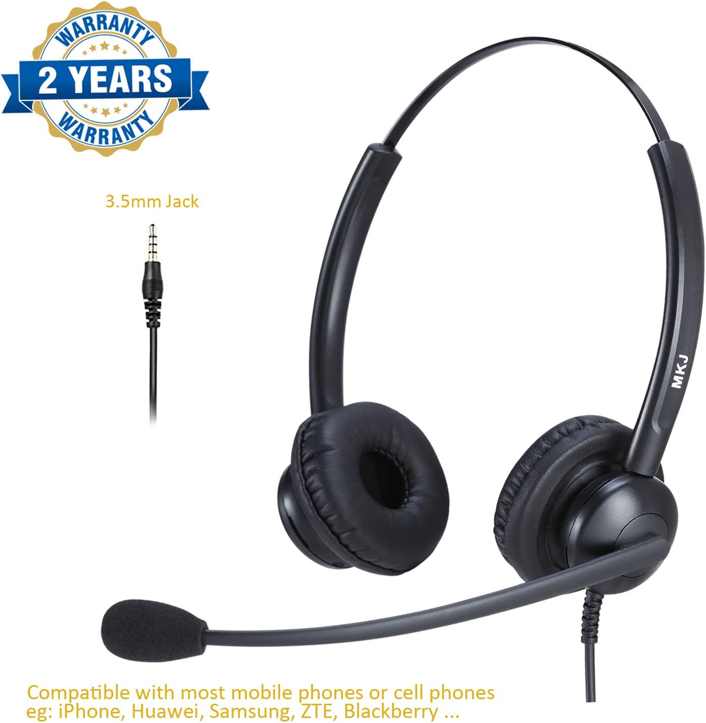 Amazon Com Cell Phone Headset With Microphone 3 5mm Headset Dual Ear Compatible With Iphone Samsung Zte Huawei Xiaomi Etc Smartphones Electronics