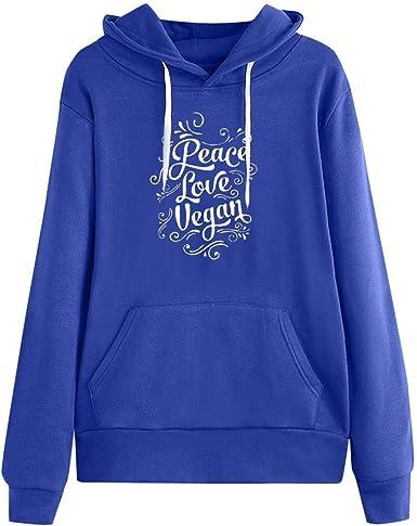 Feytuo Sudaderas Adolescentes Chicas Cortas Peace Love Vegan ...