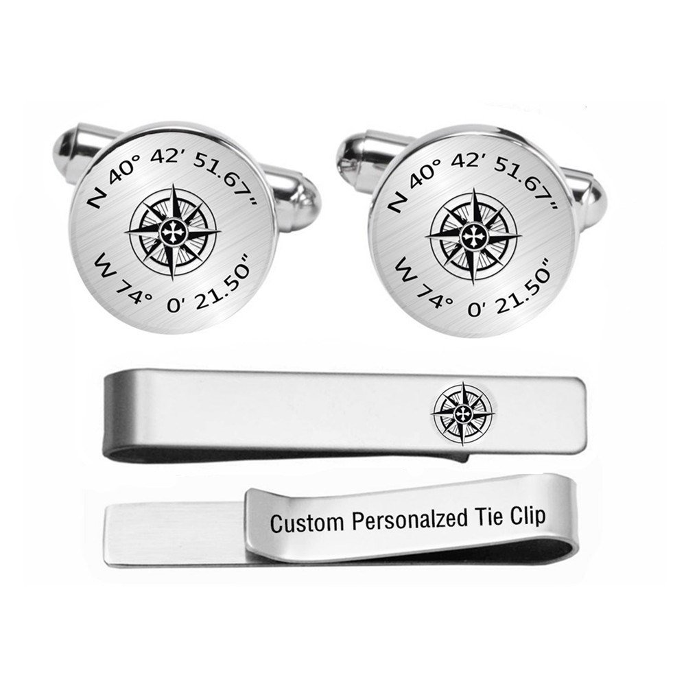 Kooer Custom Personalized Latitude and Longitudee Engraved Cuff Links Tie Clip Set Engrave Compass Cufflinks (round silver plated cufflinks)