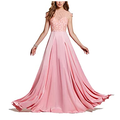 Beaded Long Prom Dress Pink Scoop Floor Length Women Cap Dresses Pink 2