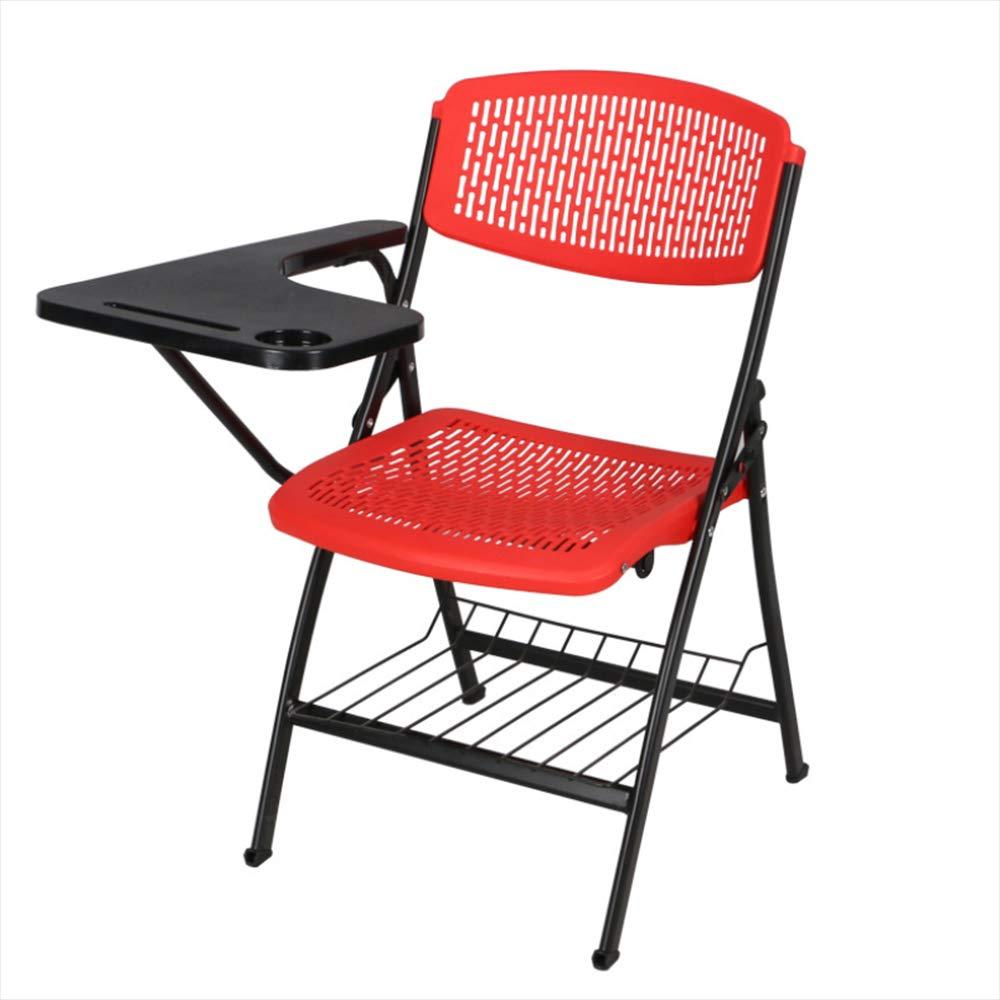 Keoa Klappstuhl Heimtraining Stuhl Mit Schreibtafel Und Buchnetz Büro Besprechungsstuhl Kunststoff Praktische Atmungsaktive Rückenlehne Stuhl,B