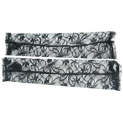 FENICAL guantes de encaje largos sin dedos huecos florales ...