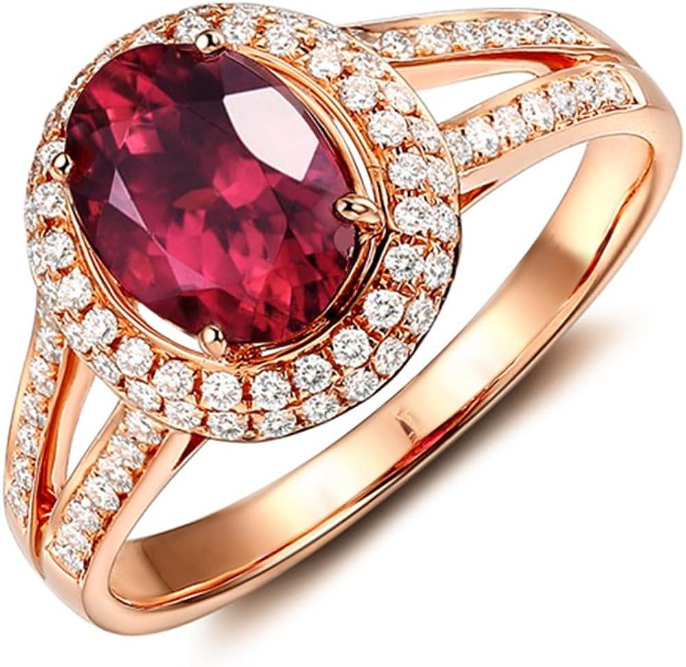 Perfecto Naturales Diamante 14K Oro rosa Rosa Turmalina Piedra preciosa Boda Compromiso Nupcial Anillos para Mujer