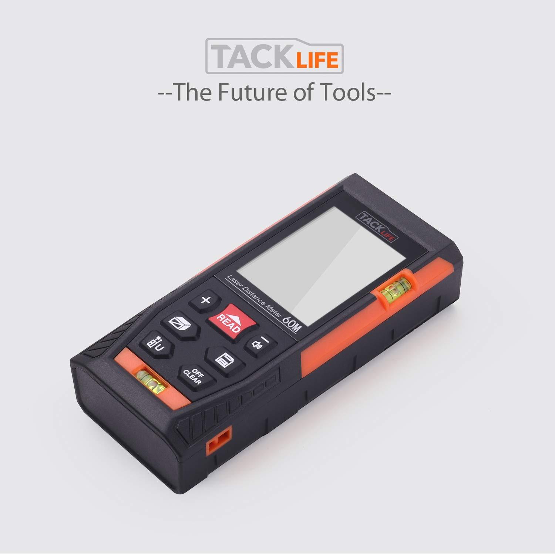 nivel laser con pantalla grande retroiluminada LCD Tacklife HD-100M Tel/émetro L/áser,Metro L/áser de distancia alta precisi/ón /±1,5 mm 2 burbujas de nivel funci/ón silencio y r/ápida medici/ón