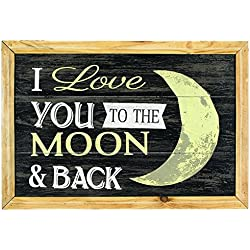 "Carson 19"" x 13"" Primitive Framed Wood Wall Art ""I Love You to the Moon & Back"""