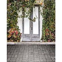 Wedding Photo Backdrop 5x7 Grey Wood Door Green Plants with Brick Floor Photo Background Newborn Custom Made