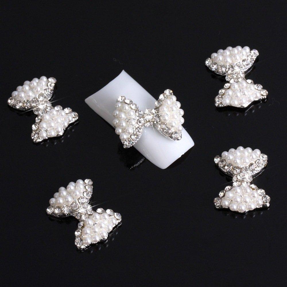 Adored 10Pcs Big 3D White Alloy Bow Tie Faux Pearl Rhinestones Nail Art Glitters