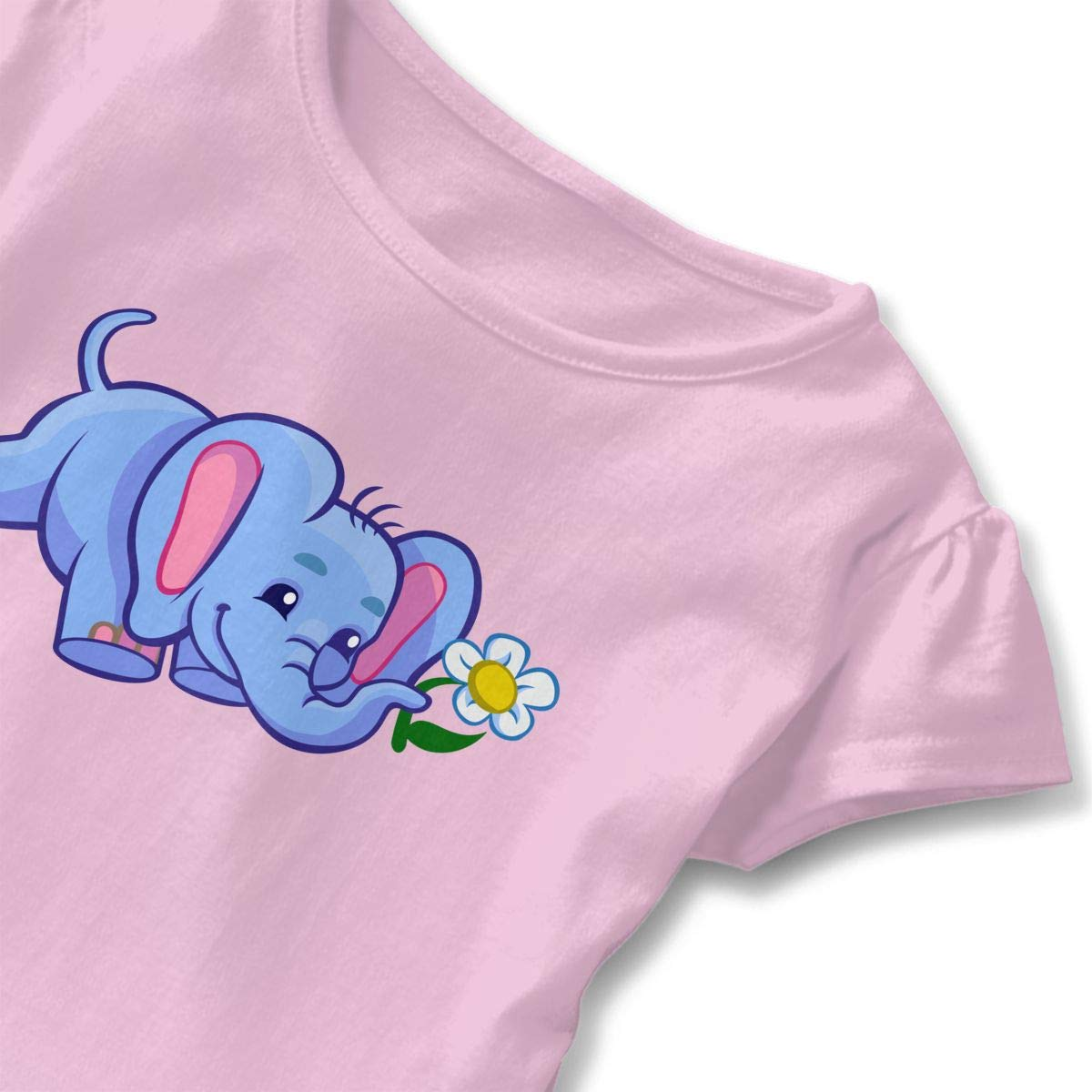 HYBDX9T Toddler Baby Girl Elephant with Flower Funny Short Sleeve Cotton T Shirts Basic Tops Tee Clothes