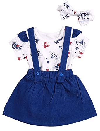 d33c9367a8457 Baby Girl 6 12 18 24 Months Clothes Toddler Girls Outfits Ruffle Floral  Short Sleeve +