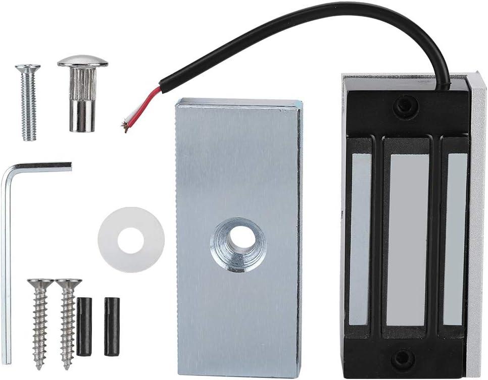 DC12V 60KG Mini Cerradura Electromagnética Aleación de Aluminio Cerradura de Puerta Magnética Sistema de Control de Acceso de Puerta de Encendido para Puertas de Madera, Puertas Cortafuegos,etc