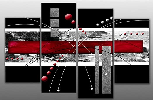 Large Red And Black Abstract Canvas Artwork Picture 4 Pieces Multi Panel  Split Canvas Completely Ready
