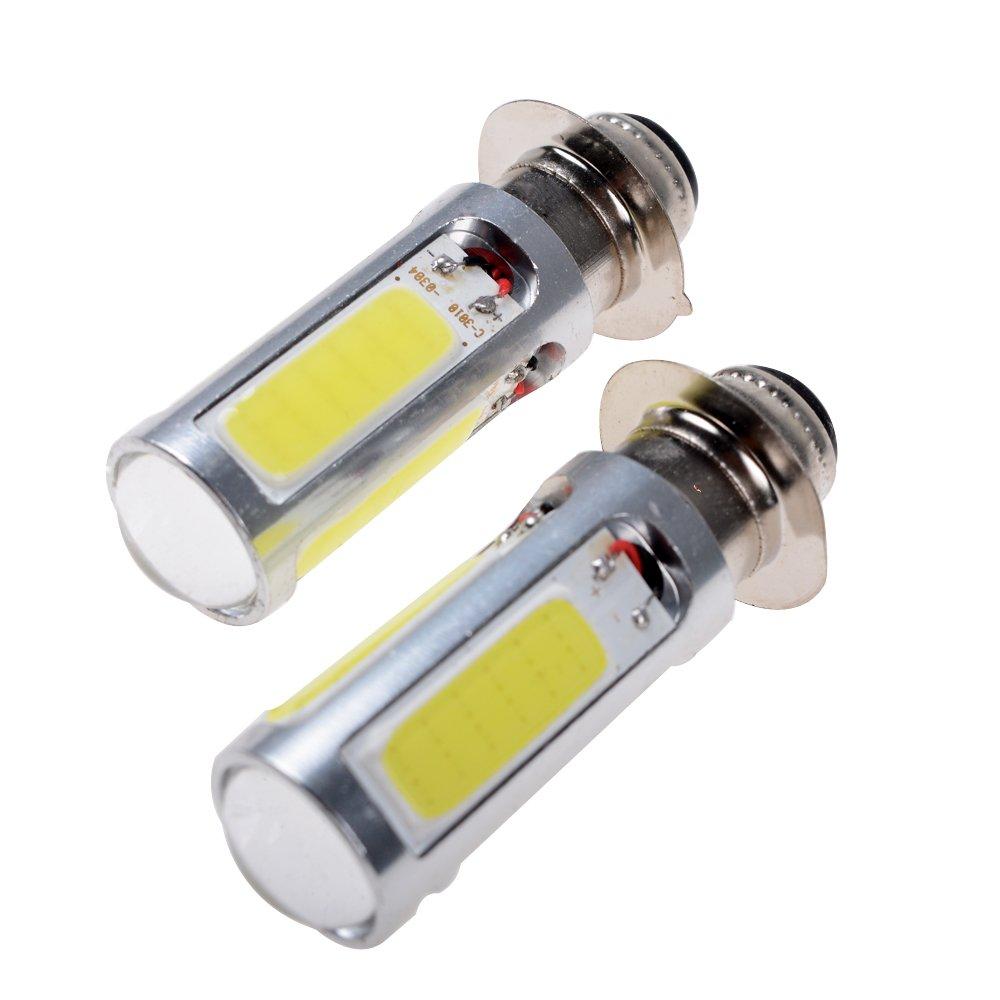 2X Super Bright H6M/PX15d/P15D25-1 Xenon White 5-COB LED Motorcycle/Motor Bike/ATV Light Bulb LED Light Bulbs
