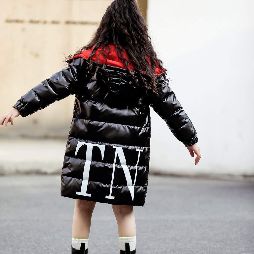 Holata Girl Winter Jacket Kids Hooded Letter Waterproof Coat Down Jacket Child Long Overcoat Outwear