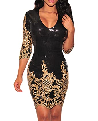 bd565a2cd4b09d Amazon.com: Maxwell Women's Victorian Gold Sequins 3/4 Sleeves Club  Cocktail Bodycon Dress: Clothing