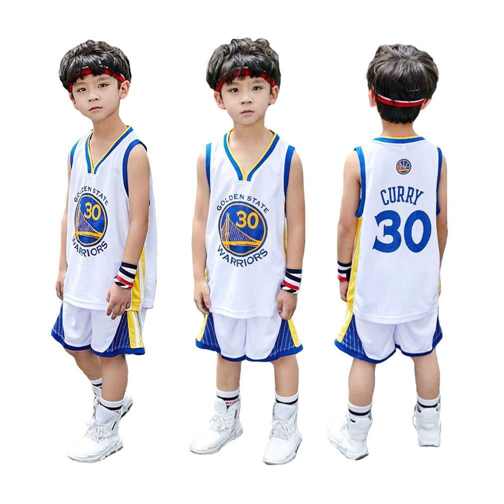 Warriors Stephen Curry # 30 Basketball Uniform Sommer Besticktes Hemd Weste Shorts-grey-2XS 95-105CM FNBA Kinder Jungen Basketball Trikots Set