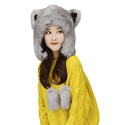 9142ce972b8 Women Ladies Cartoon Cute Animal Full Hood Hats Earflap Skull Caps Winter  Thermal Cozy Furry Fancy