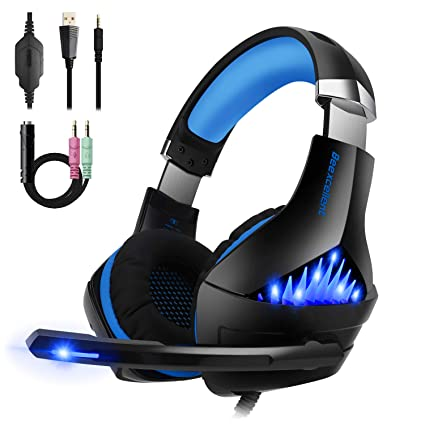 Gaming Headset,OfficeLead Stereo Headphones for Laptop,Tablet,PS4, PC, Xbox  One Controller, Noise Cancelling Over Ear Headset with Mic, LED Light,