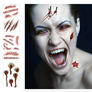 Tatuajes temporales para Disfraz de Halloween en 3D, Zombie ...