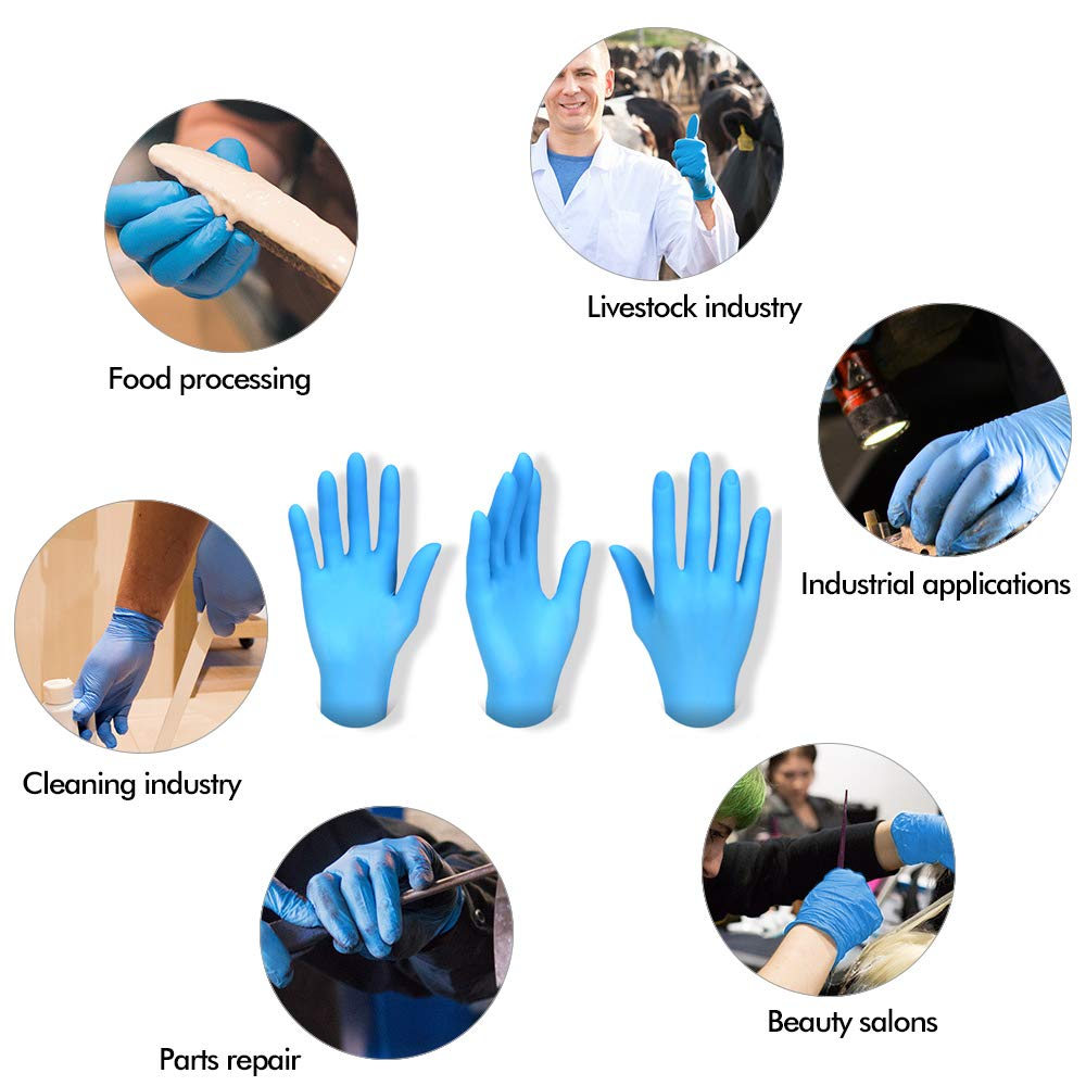 Talla M L 100 PCS Impermeable Guantes Resistente y Flexible para Hogar Belleza y Trabajo Azul L Padgene Guantes desechables de Nitrilo Industrial de Pl/ástico