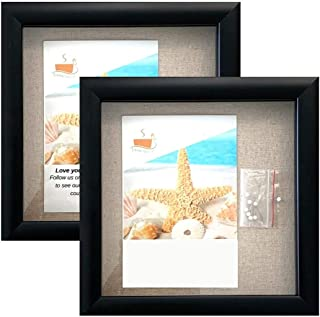 """product image for flag connections (2-Pack) 8""""x8"""" Black Display Shadow Box Frame w/Linen Background and 16 Stick Pins - Ready to Hang Shadowbox Picture Frame (Black)"""
