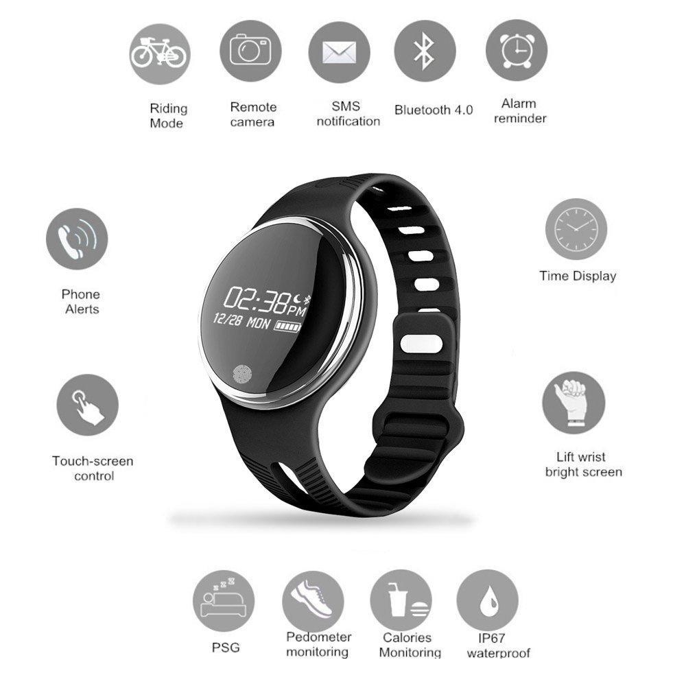 E07 Smartwatch Pulsera IP67 Impermeable Pantalla táctil OLED Rastreador de actividad Pulsera Monitor de sueño Funcionamiento + Modo de conducción ...