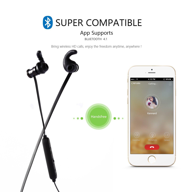 LESHP Auriculares Deportivos Inalámbricos con Micrófono (Bluetooth CSR 4.1, extremos magnéticos, altavoz de 8mm, tiempo standby de 250 horas): Amazon.es: ...