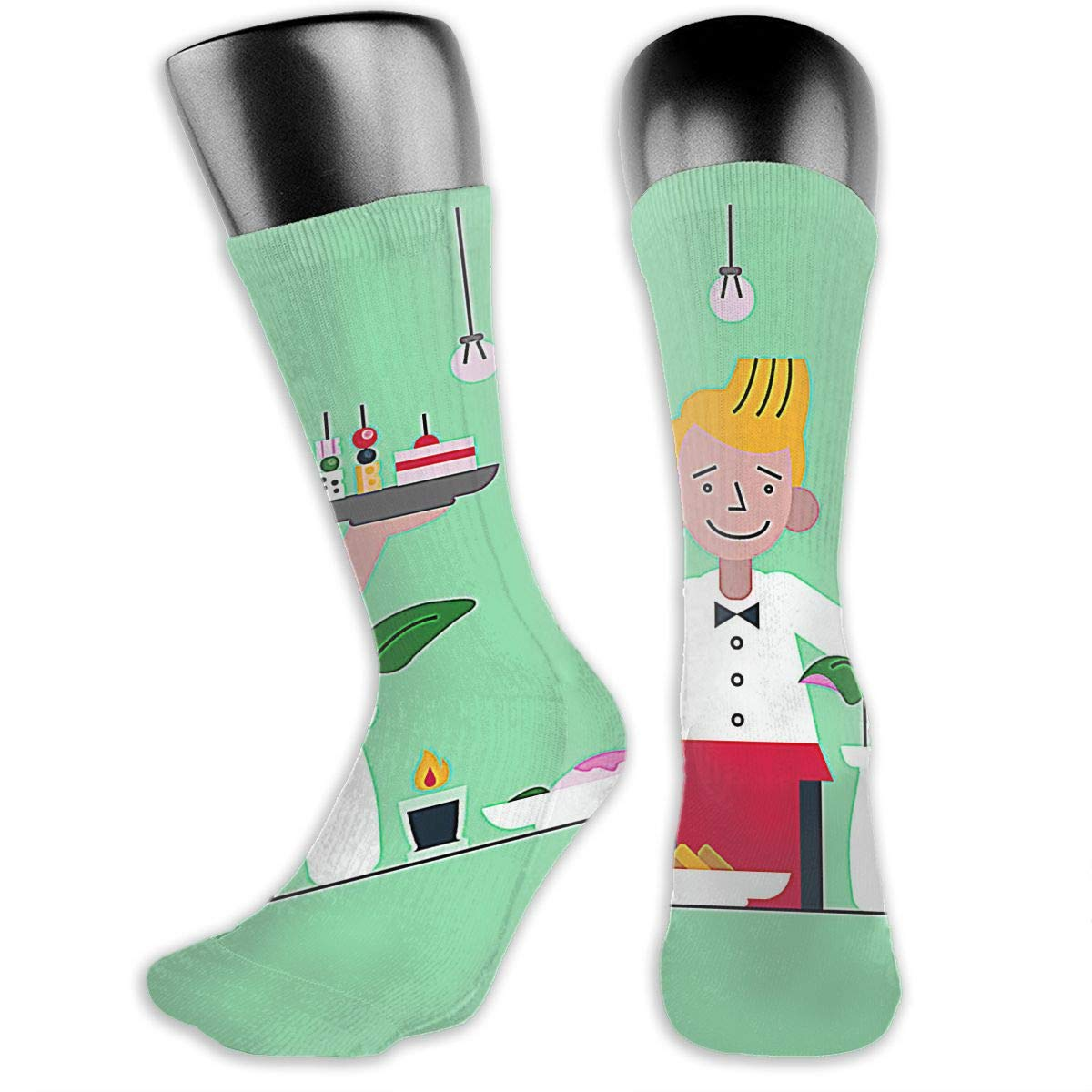 OLGCZM Waiter Serving AppetizersFlat Illustration Men Womens Thin High Ankle Casual Socks Fit Outdoor Hiking Trail