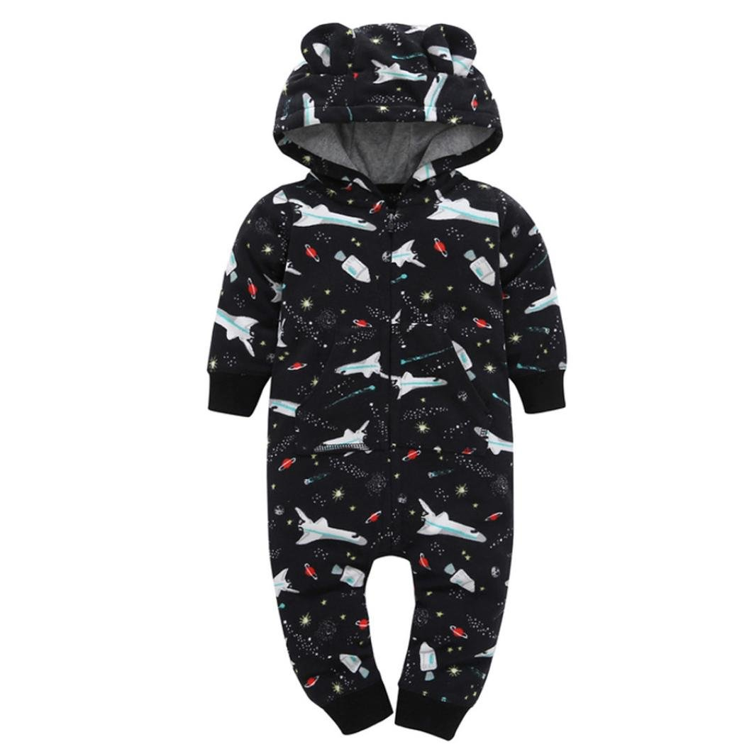 24M, Black Sunfei Infant Baby Boys Girls Thicker Print Hooded Romper Jumpsuit Outfit Kid Clothes