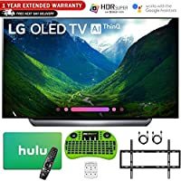 LG 65 C8 OLED 4K HDR AI Smart TV (2018 Model) with Bonus Hulu $100 Gift Card + 1 Year Extended Warranty + Wall Mount Kit and More - OLED65C8