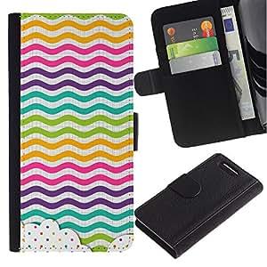 For Sony Xperia Z3 Compact Case , Dot Waves Lines Rainbow Color - la tarjeta de Crédito Slots PU Funda de cuero Monedero caso cubierta de piel