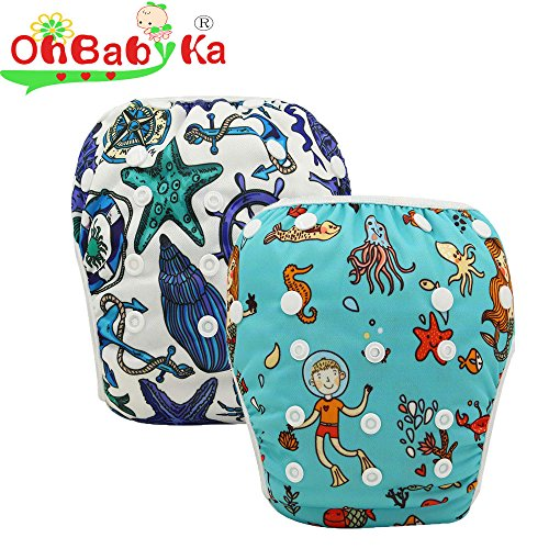 OHBABYKA Baby Swim Diaper Adjustable Unisex Reusable Washable Swim Pants (YK-style4)