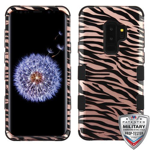 - Zebra Skin/Black (2D Rose Gold)/Black TUFF Hybrid Phone Protector Cover [Military-Grade Certified](with Package) for Samsung Galaxy S9 Plus