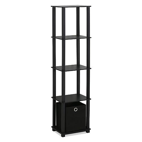 FURINNO Decorative Shelf With Bin, Black