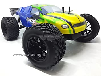 Truggy XXX Sword Off Road 1/10 con marco de metal motor a cepillos RC-550 Radio 2.4 GHz RTR 4 WD VRX carrocería Azul y Verde: Amazon.es: Juguetes y juegos