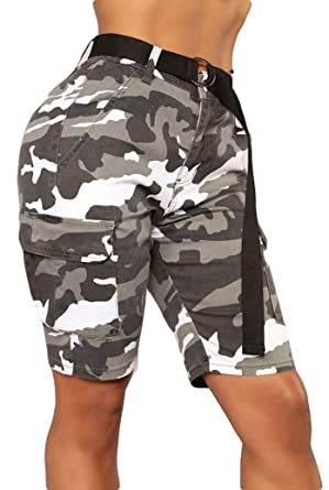 e9264463f3 Lesimsam Women's Camo Cargo Shorts Trousers Casual Short Pants Military  Army Combat Camouflage Short Pant: Amazon.in: Clothing & Accessories