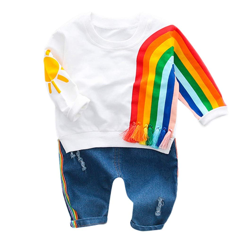 Cyhulu Little Baby Boys Girls Cute Rainbow Striped T-Shirt Top Jeans Pants Casual Suits Outfits Set