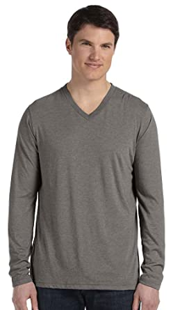 42ad5a5b82a Bella + Canvas Unisex Jersey Long-Sleeve V-Neck T-Shirt (3425) GREY ...