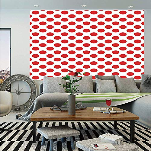 (Geometric Huge Photo Wall Mural,50s 60s Old Pop Art Retro Vintage Polka Dots Rounds Circles Decor Art Print Decorative,Self-adhesive Large Wallpaper for Home Decor 100x144 inches,Scarlet and White)