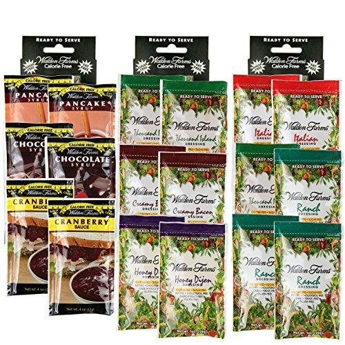 - 3 Boxes (18 Packets): Walden Farms Salad Dressing 1 Oz Packets (Assorted Flavor)