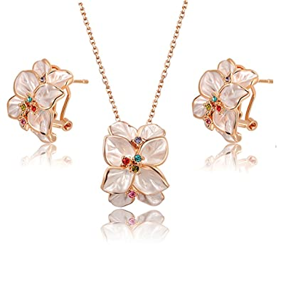 f2b7656faed01 Angelady Rose gold Necklace Best Gift For Girl Women, Crystal from  Swarovski Mom Jewelry Gift