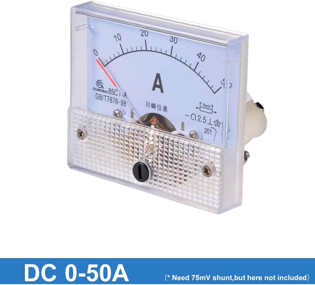 uxcell 85C1-A Analog Current Panel Meter DC 50A Ammeter for Circuit Testing Ampere Tester Gauge 1 PCS