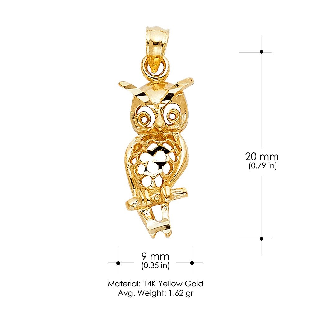 14K Yellow Gold Owl Charm Pendant with 0.8mm Box Chain Necklace