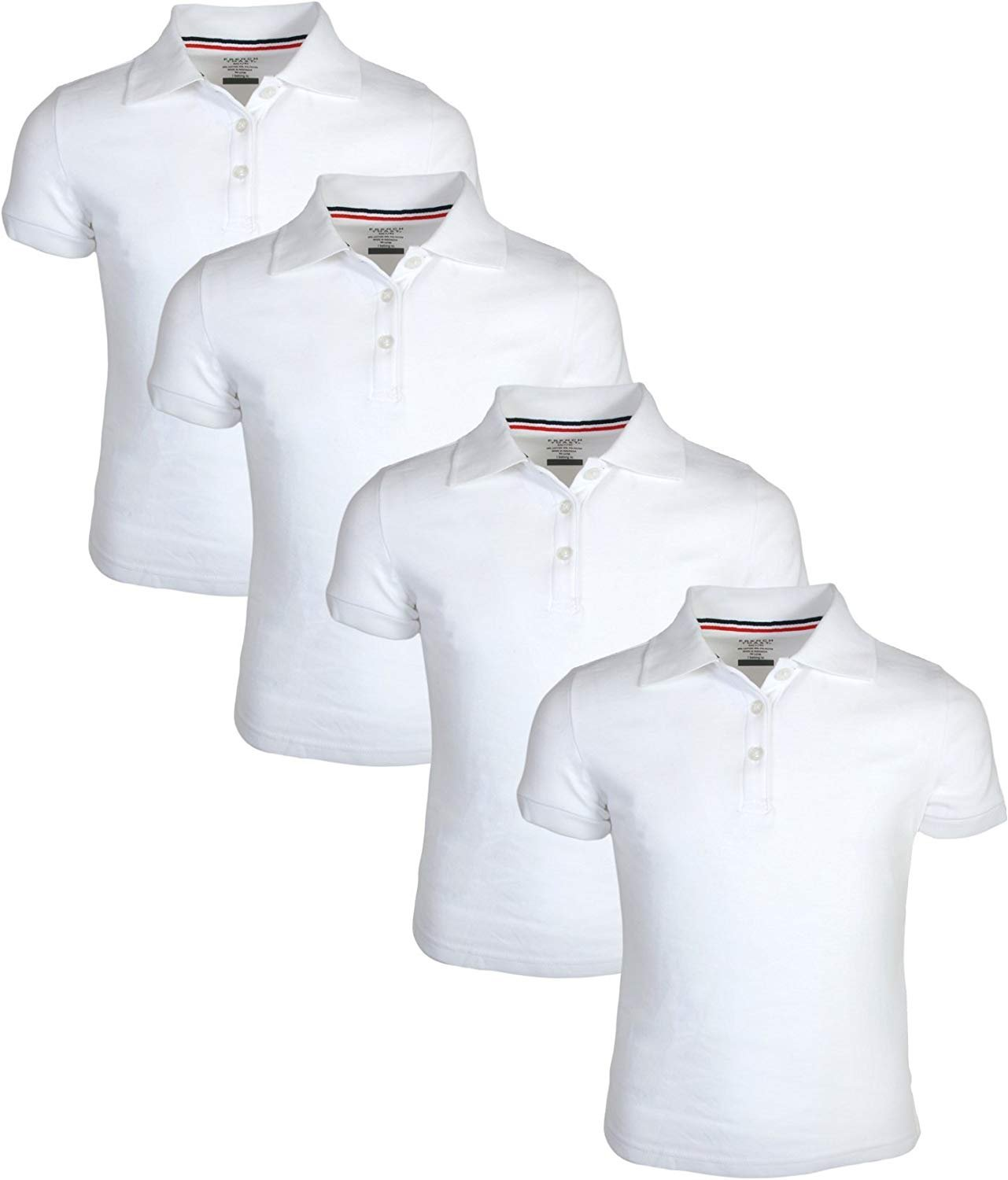 French Toast Girl's Uniform Polo Short Sleeve Interlock (4 Pack), White/White, Medium - 7/8'