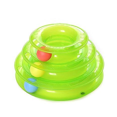 YOMMY® Juguete Mascotas para Gatos Juguetes Interactivo Juguete de Atracciones Plate Trilaminar Bola Torre de