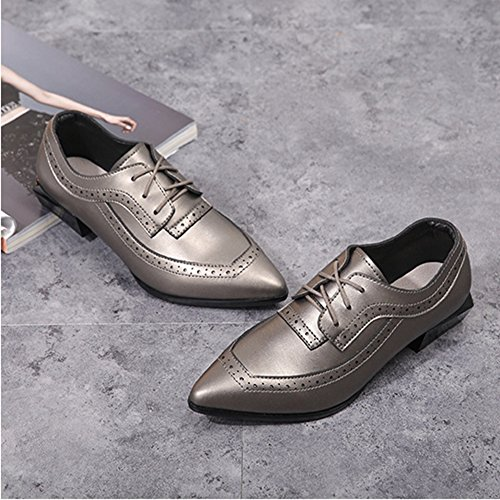 Perforated Toe T Silver Pointed Heel Oxfords Wingtip Women's Shoes Low up JULY Comfy Lace Shoes n17n4z