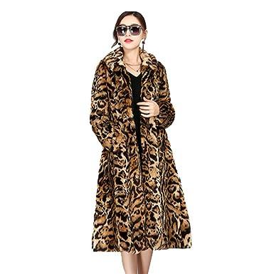 Abrigo Chaqueta De Piel Sintética Pelo Leopardo De Las Mujeres Abrigos De Solapa De Manga Larga De Invierno Cálido Prendas De Outwear: Amazon.es: Ropa y ...